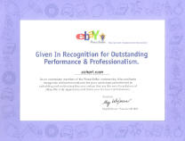 eBay Recognition awarded to scherf.com for Outstanding Performance & Professionalism